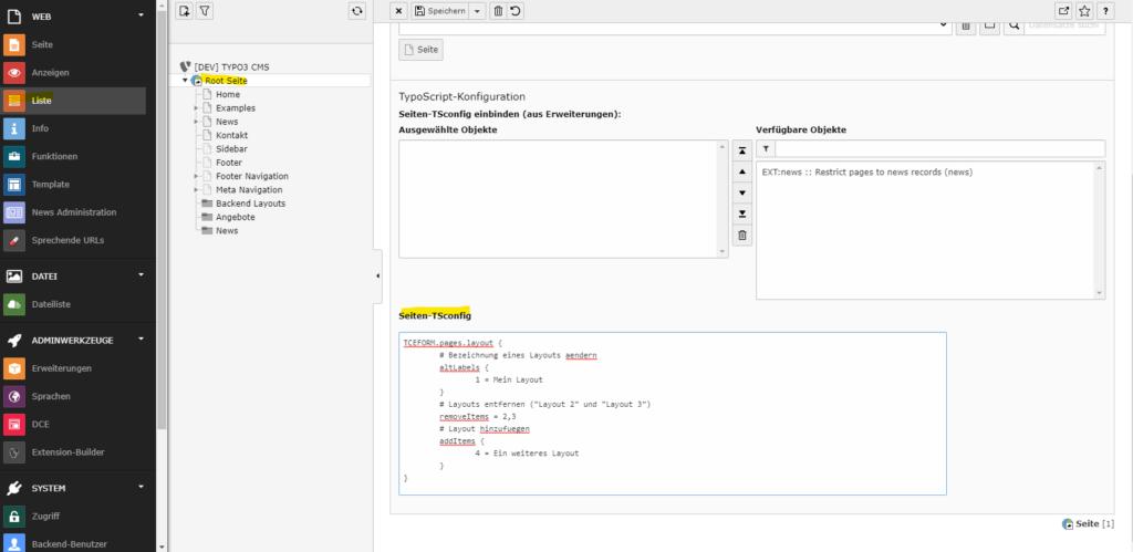 Seiten-TSconfig zum hinzufügen, ändern und entfernen von Seitenlayouts